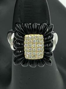 NWT Lagos Caviar $1,975 Sterling Silver 18K Gold .31 ct DIAMOND Onyx Ring
