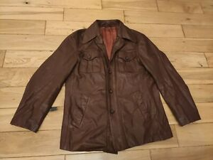 Leather Jacket Brown Vintage 1960s 70s button Mens Small (46-47 pit-pit)