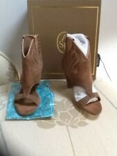 Ash tan peep toe moccasin boot UK 3