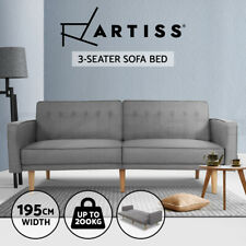 Artiss Sofa Bed Lounge Futon Couch Beds 3 Seater Recline Chair Wood 195cm Fabric
