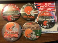 VINTAGE CLEVELAND BROWNS TEAM BUTTON PINS LOT 5 3""