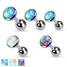 3 Pc Opal Set Top Surgical Steel Helix Tragus Cartilage Barbell Stud Earring