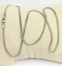 "18k Solid White Gold Italian Small Flat Curb/ Link Chain Necklace, 18"". 3.07 GM"