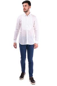 RRP €430 BURBERRY Shirt Size 39 15.5 M Linen Blend Bib Front Pintucked Regular