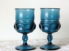 2 Indiana Colony Dark Blue KINGS CROWN 8 oz Water Goblets-Set of Two