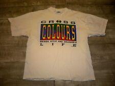 Vtg Cross Colours Colors Threads 4 Life Men's One Size 100% Cotton T-shirt Tee
