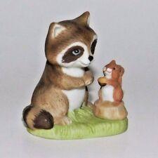 Vintage Homco Porcelain Raccoon Figurine - Series #1418 - Raccoon with Squirrel