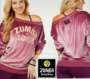 ZUMBA Lover Sweat Shirt Top PullOver Boatneck Super Soft+Shiny Metallic S M L XL