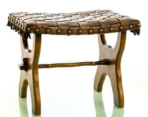 Antique Edwardian Country House Arts & Crafts Oak & Leather Stool