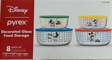 Pyrex Disney Mickey Mouse 8 Piece Set Glass Food Storage with Lids Decorated Nib