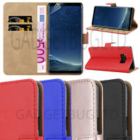 CASE FOR SAMSUNG GALAXY S8 REAL GENUINE LEATHER SHOCKPROOF WALLET FLIP COVER