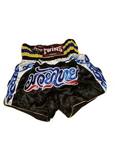 Twins Special Muay Thai Boxing Fighting Trunks XXL Black Blue Mens