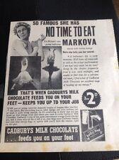 M9-2 Ephemera 1938 Advert Ballet Dancer Markova Cadburys Chocolate