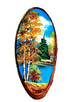 Painting Art Picture handmade wood stump crystals stone crumb enjoy the wood