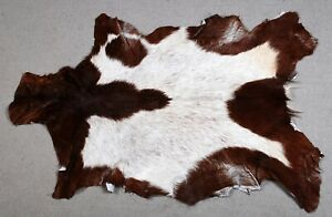 """New Goat hide Rug Hair on Area Rug Size 36""""x24"""" Animal Leather Goat Skin A-8315"""