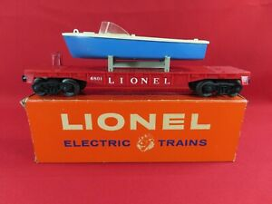 Lionel Postwar 1960 Santa Fe Alco Set 1637W Break-Up - 6801 Flatcar w Blue Boat