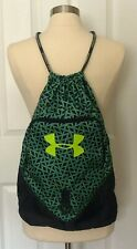 Under Amour Womens Nylon Cinch Sack Top Backpack Gym Bag Navy Green Geo Pattern
