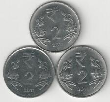 3 DIFFERENT 2 RUPEE COINS from INDIA - ALL 2011 with MINT MARKS of B, H & N