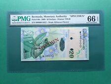 """2009 BERMUDA 20 DOLLARS  """"SPECIMEN 000000"""" PMG 66 EPQ GEM UNC"""