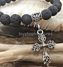 Silver Cross Aromatherapy diffuser Essential Oil Lava Bracelet