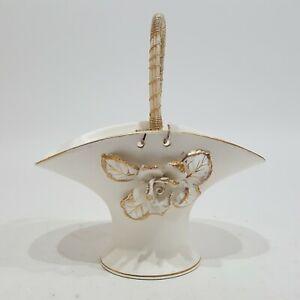 Porcelain Basket Decor White Floral Masonic Temple Treasures OES Kistner Chicago
