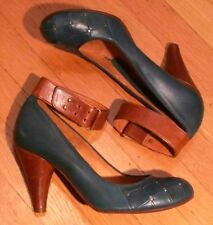 CHIE MIHARA ANTHROPOLOGIE TEAL STUDDED LEATHER ANKLE STRAP PUMPS 41 SHOES HEELS