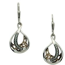 S/s and 10k Gold White Sapphire Trinity Teardrop Earrings Pex8225-ws Keith Jack