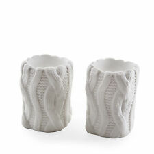 Pair of White Woolen Design Ceramic Christmas Home Tealight Candle Holders
