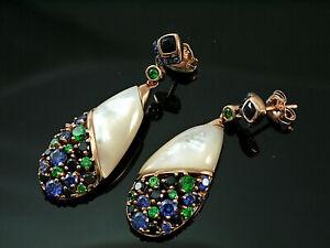 925 Silber Ohrringe mit Zirkonia Steinen  und weißem Perlmutt  39 mm Länge