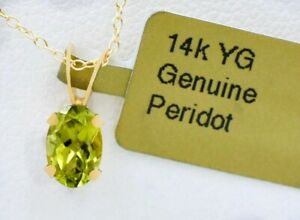 GENUINE 0.68 Cts PERIDOT SOLITAIRE PENDANT 14K GOLD ** New With Tag **