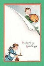 Vintage Frances Brundage Halloween Postcard Boy Jol Girl Candle Basket Apples