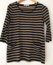 Jones New York Sport Black & White Striped Long Sleeve Top. Medium. Great Condit