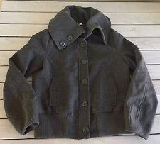 H&M Women's Coat Jacket Wool Blend Funnel Collar Short  Zip Tweed Bomber US 12 L