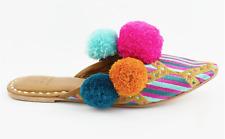 014fed31266c  295 NEW Figue Diamond IKAT Iris Slide Sandals Pink   Blue Stripe PomPoms  ...