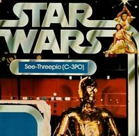 """UNPUNCHED SEE-THREEPIO / C3PO Star Wars Vintage """"12 Back"""" Card only Kenner 1977"""
