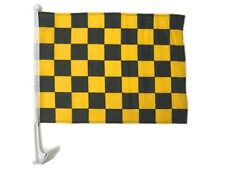 "12x18 Black Gold Checkered Checker Racing Car Window Vehicle 12""x18"" Flag"