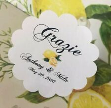 24 Personalized Wedding Favor Labels Stickers Limoncello, White, Kraft Brown