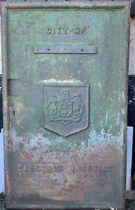 Cast Iron Street Electric Lighting Lucy Box Door City Of Nottingham Coat of Arms