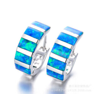 Women'S Silver Filled Blue simulated Opal Hoop Earrings For Luxury Gift