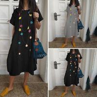 VONDA Women Short Sleeve Casual Long Dress 100% Cotton Baggy Shirt Dress Kaftan