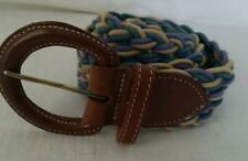 055176e56e8 LL Bean Blue Beige Turquoise Braided Rope Belt Leather Buckle Womans Size  Large