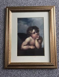 "Vintage Framed Cherub Picture Gilt Ornate Frame 10.75"" x 8.5""  (O21)"