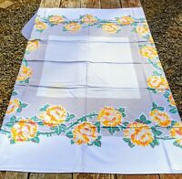 "Vintage Mid Century Colorful Floral Print Tablecloth Flowers 44 x 50.5"" Stained"