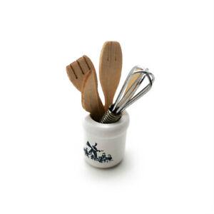 Dollhouse Cookware Set Eggbeater Spatulas Tube 1:12 Miniature Accessories