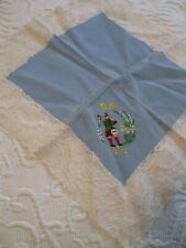 Scotland Handkerchief To My Dear Wife Embroidery Bag Pipe Piper Lace Trim Blue