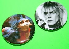 SET OF 2 DAVID BOWIE LABYRINTH JARETH AND CATERPILLAR BUTTON PIN BADGE