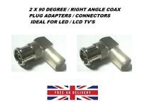 90 Degree Right Angled TV Aerial Cable Connector Male Coax Plug to Female x 2