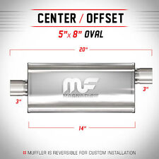 """Magnaflow 12229: 3"""" Inch Inlet/Outlet 5X8"""" Oval Muffler Center Offset Stainless"""