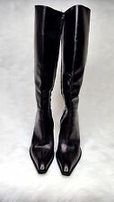 Max Mara Designer Black High Heel Zip Up Leather Boots,Soft Leather,Sz EU 38 1/2