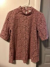 NWOT Ann Taylor Loft dusty rose pink high neck lace top S M Small fits as Medium